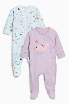 Pretty Dinosaur Sleepsuits Two Pack (0mths-2yrs)