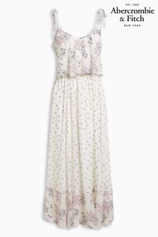Abercrombie & Fitch White Print Halterneck Maxi Dress