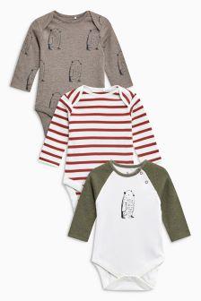 Bear Print Long Sleeve Bodysuits Three Pack (0mths-2yrs)