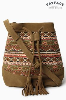 Fat Face Tan Embroidered Bucket Bag