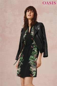 Oasis Multi Black ZSL Print Shirt Dress