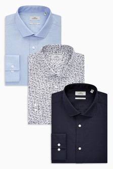 Textures And Print Slim Fit Shirts Three Pack