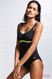 Speedo® Sculpture Black Contour Luxe Swimsuit