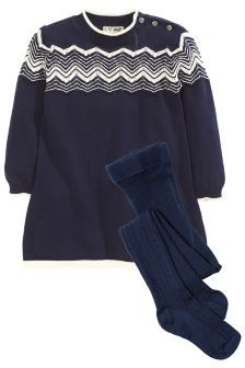 Zig Zag Knitted Dress And Tights (3mths-6yrs)