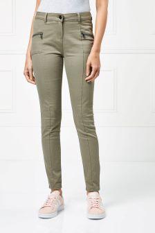 Zip Detail Skinny Trousers