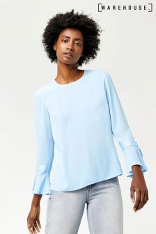Warehouse Pale Blue Grosgrain Flared Cuff Top