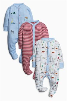 Zoo Animal Sleepsuits Three Pack (0mths-2yrs)