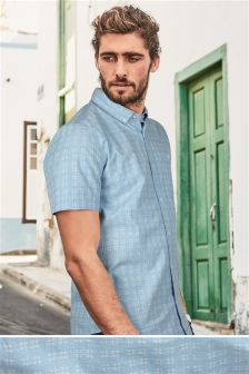 Short Sleeve Cross Textured Shirt