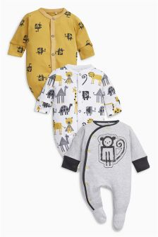 Monkey Sleepsuits Three Pack (0mths-2yrs)
