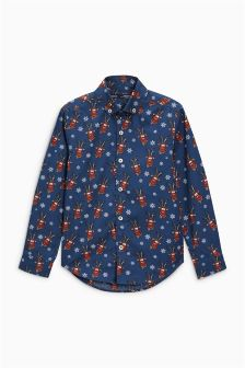 Long Sleeve Reindeer Print Shirt (3-16yrs)