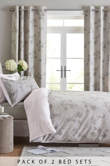 2 Pack Grey Floral Bed Set