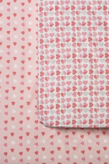 2 Pack Pink Heart Printed Sheets