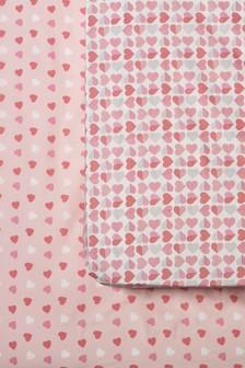 Bettlacken mit Herzmuster, pink, 2er-Set