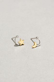 Moon And Star Front To Back Earrings
