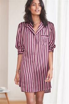Stripe Button Through Nightshirt