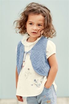 Pointelle Knit Waistcoat And Embroidered Blouse Set (3mths-6yrs)
