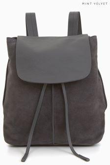 Zamszowy, skórzany plecak Mint Velvet