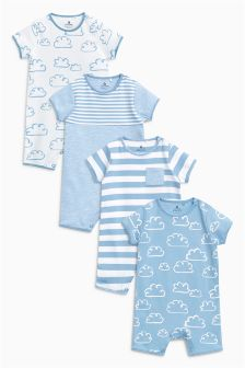 Cloud Print Rompers Four Pack (0mths-2yrs)