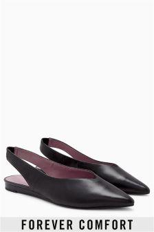Zapatos de cuña con tira trasera y puntera en punta