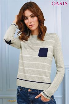 Oasis Pale Grey Cosy Stripe Pocket Knit Jumper
