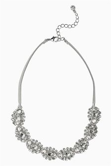 Crystal Effect Jewel Cord Detail Necklace