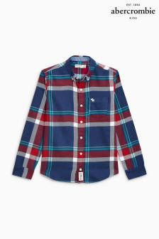 Abercrombie & Fitch Navy/Burgundy Check Shirt