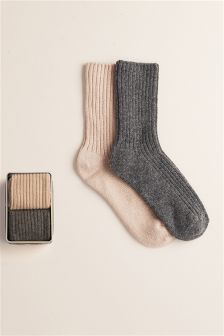 Cashmere Socks In A Tin Two Pack