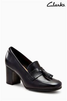 Czarne pantofle skórzane Clarks Kensett na grubym obcasie