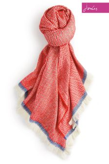 Joules Red Twill Soft Handle Twilby Scarf