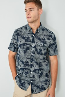 Short Sleeve Leaf Print Shirt
