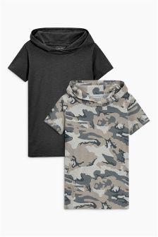 Набор из двух футболок с капюшоном и короткими рукавами (3-16 лет)