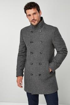 Manteau croisé à col cheminée