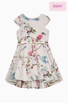 Różowa sukienka balowa w kwiaty Baker By Ted Baker