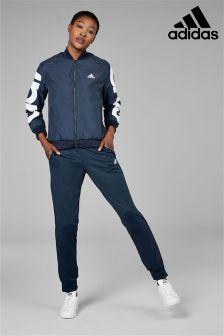 Темно-синий текстильный спортивный костюм adidas