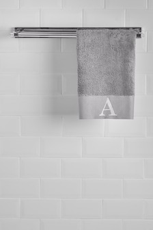 Grey Initial Hand Towel