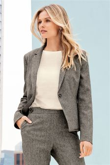 Textured Single Breasted Tailored Jacket