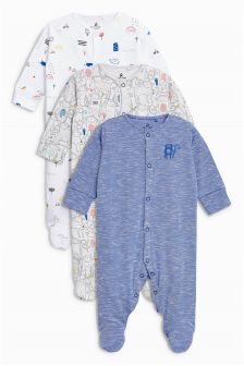 Monkey Print Sleepsuits Three Pack (0mths-2yrs)