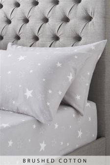 Brushed Cotton Silver Star Fitted Sheet Set
