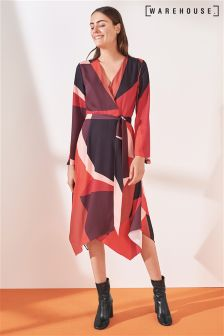 Warehouse Red/Pink Cutout Block Print Midi Dress