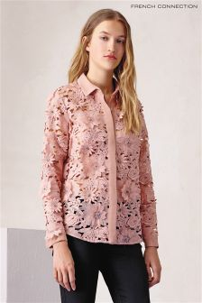 Klasyczna różowa bluzka z koronki French Connection