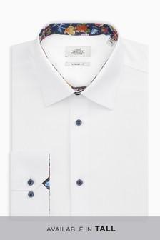 織紋標準款合身帶花邊襯衫