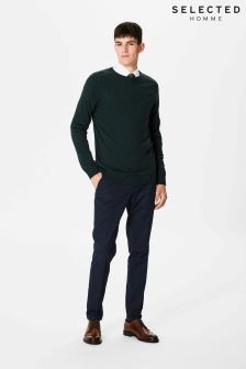 Selected Homme Green Merino Wool Crew Neck Knit Jumper