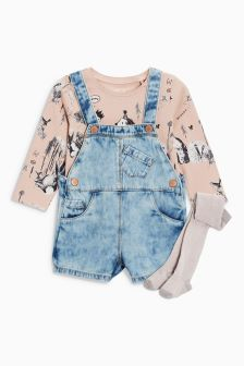 Dungarees With T-Shirt And Tights (3mths-6yrs)