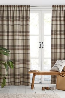 Natural Woven Stirling Check Multi Header Lined Curtains