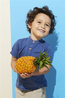 リネン バンドカラーシャツ (3 か月~6 歳)