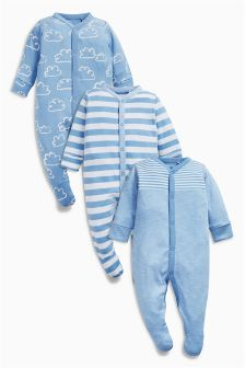 Cloud And Stripe Sleepsuits Three Pack (0mths-2yrs)
