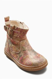 All Over Print Buckle Boots (Younger Girls)
