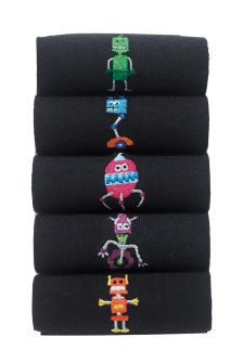 Robot Embroidered Socks Five Pack