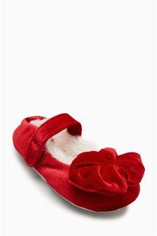 Velvet Bow Ballet Slippers (Younger Girls)