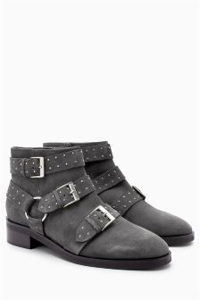 Leather Stud Strap Boots